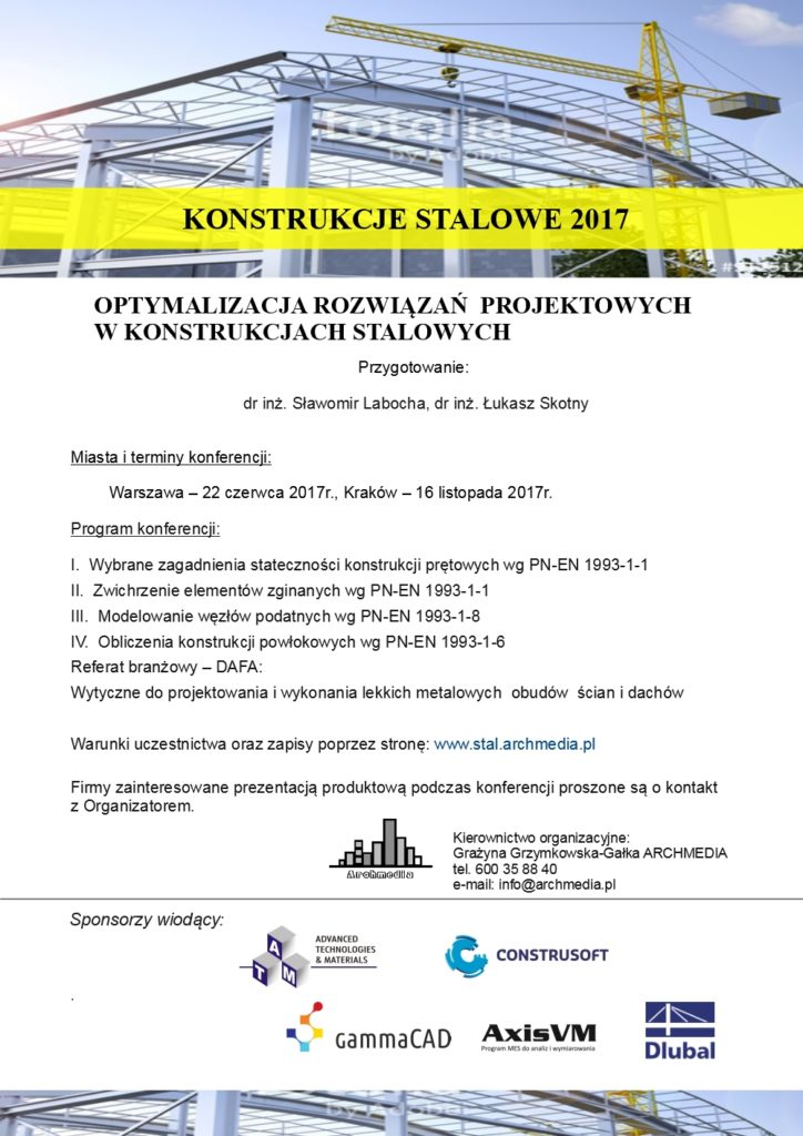 Zaproszenie Konstrukcje stalowe 2017 na ulotkę